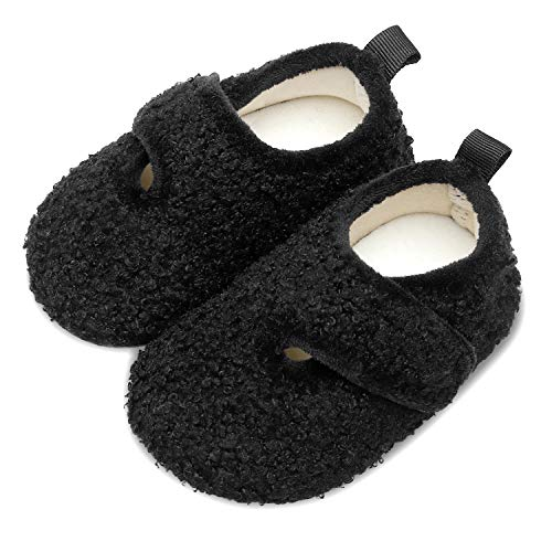Scurtain Kids Toddler Slippers Socks Artificial Woolen Slippers for Boys Girls Baby with Non-Slip Rubber Sole 2027 Black Little Kid 12.5-13