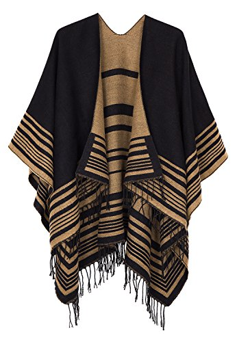 Urban CoCo Women's Printed Tassel Open front Poncho Cape Cardigan Wrap Shawl (Series 12-black)