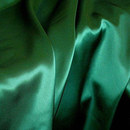 TOLKO Glanz Satin Modestoff/Deko-Stoff/Kostümstoff als Meterware zum Nähen, Dekorieren und Basteln (Dunkelgrün)
