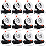TORCHSTAR 12-Pack 3 Inch Gimbal LED Dimmable Recessed Light with J-Box, 7W (50W Eqv.) 500lm, Airtight, ETL/Energy Star/JA8/Title 24, CRI 90+, 3000K Warm White, 5 Years Warranty, White