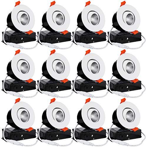 TORCHSTAR 12-Pack 3 Inch Gimbal LED Dimmable Recessed Light with J-Box, 7W (50W Eqv.) 500lm, Airtight, ETL/Energy Star, CRI 90+, 5000K Daylight, 5 Years Warranty, White