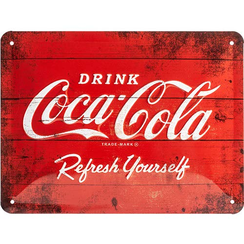 Nostalgic-Art 26173 Targa di metallo 15 x 20 cm – Coca-Cola - Logo Red Refresh Yourself