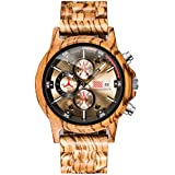 Mens Wooden Watches Personalized Stylish Wood Quartz Casual Wristwatches for Men Watch Gifts (Zebra)
