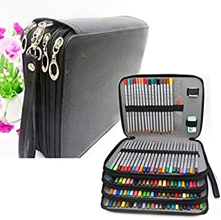 Yiherone PU Leather School Pencil Case 184 Holes Expectant Capacity Negro Pencil Bag Box Multi-Functional Pencilcase Art Supplies Gift(Black) New (Color : Black)