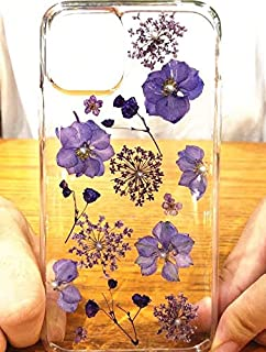 """iPhone 11 (6.1 inch) Case,Blingy's Real Pressed Dry Flower Style Transparent Clear Soft TPU Protective Rubber Case Compatible for iPhone 11 6.1"""" 2019 Release (Purple Dry Flower)"""