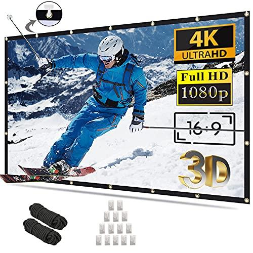 Projector Screen-Outdoor Indoor Portable Washable Milk Fiber Movie Projection Screen 100 inch-Support 4K 3D 16:9 Video