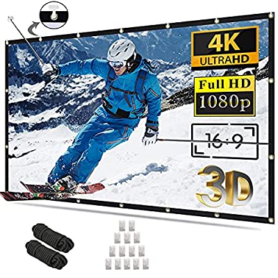 Projector Screen 100 inch 16:9 4K HD Foldable Anti-Crease Portable Projection Movies Screen for Home Theater Outdoor Indoor Support Double Sided Projection
