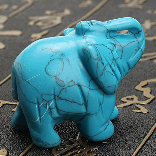 Kangsanli Turquoise Elephant Statue 1.5' Mini Hand Carved Gemstone Animal Figurine Desktop Feng Shui Ornament Home Decoration Collectibles