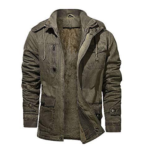 Herren Winter Casual Gewaschene Jeansjacke Outwear Mantel Warm Kapuzenjacke Männlich Dicken Fleece Militär Overcoat Gr. XXXL, 3