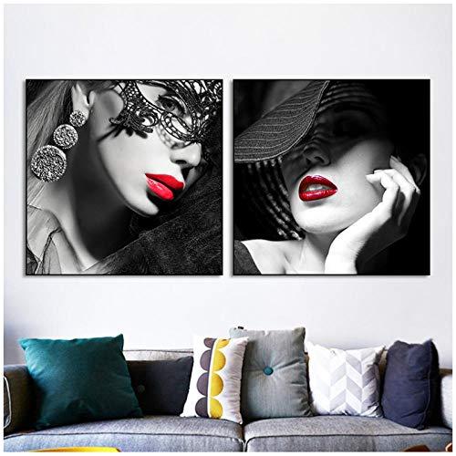 MULMF Mode schoonheid foto set kunst canvas schilderij druk make-up manicure poster foto wandafbeelding voor moderne woonkamer huis decoratie - 50X50Cmx2 niet ingelijst