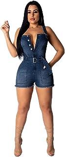 ECHOINE Women's Lapel Button Pockets Bodycon Shorts Sexy Nightclub Party Denim Jumpsuit Rompers