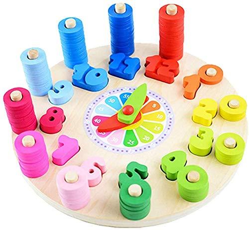 Sweelive Montessori - Reloj digital para niños (madera), diseño geométrico