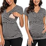 Love2Mi Camiseta de maternidad de manga corta para mujer, cuello en V, moda premamá Rayas blancas en gris oscuro. L