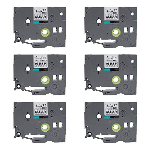 Compatible for P-Touch TZe131 TZ131 Clear Color Label Tape 6-Pack, Laminated 12mm 0.47 Label Tape, Replace Tze Tz Clear Label Tape Cartridge for PTD210 PTH100 D400AD P700 D600 1230PC Labeler