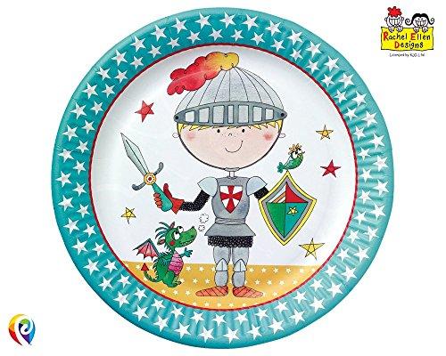 Unbekannt 8 Assiettes en Carton Le Petit Ritter Fête avec Dragon Rachel Ellen Design Multicolore
