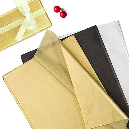 KANOSON 60 Blatt Seidenpapier Metallic Geschenkpapier, Geschenkverpackung für Weihnachten Geburtstagsgeschenk Abschlussfeier Hochzeitsfeier DIY Craft Dekorationen (Schwarz, Silber und Gold)