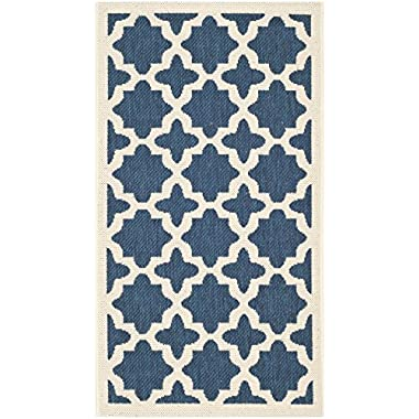 Safavieh Courtyard Collection CY6913-268 Navy and Beige Indoor/Outdoor Area Rug (2' x 3'7 )