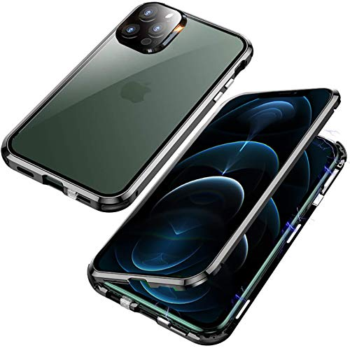 KEKBOX Funda para iPhone 12 Pro Max 6.7',Funda de 360 Full Protección Metal Bumper Case con Protector de Pantalla[Carcasa Magnética]Antigolpes Rugged Cristal Templado Case para Apple 12 Pro Max(Negro)