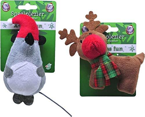 De Boon Kerst Rendier en Muis Knuffels - Kattenspeelgoed - Grijs/Bruin