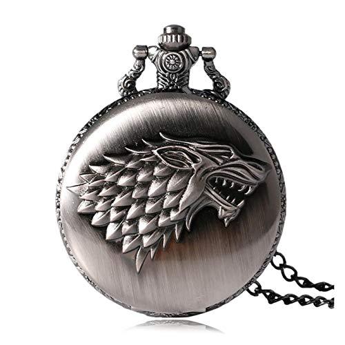 LiQinKeJi8 Reloj de bolsillo estilo retro de bronce con colgante de animal de cuarzo con cadena de collar, regalo para hombres y mujeres (color: B)