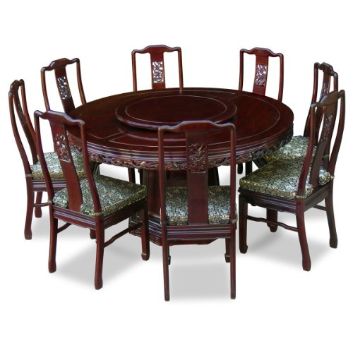 Chinafurnitureonline Rosewood Asian Dining Table 8 Chairs 60 Inch Round Dragon Dark Cherry Buy Online In United Arab Emirates At Desertcart Ae Productid 97776228