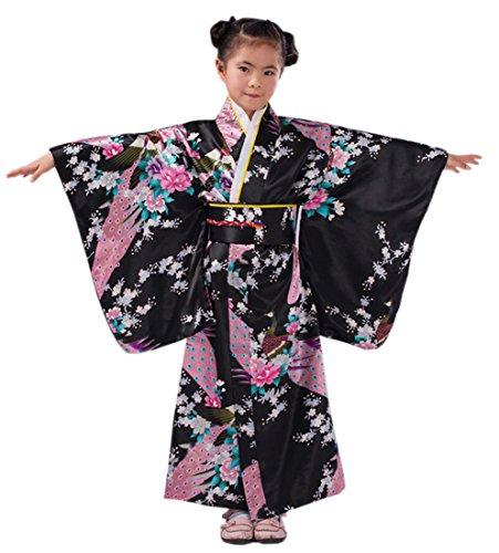 Yue Lian Mädchen Blumen&Pfau Kimono mit Obi-Gürtel Cosplay Yukata Japanisch (Höhe:140-150cm, Schwarz)