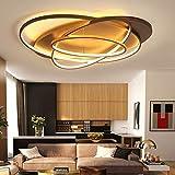 MJK Novedad Lámpara de techo, blanco/café Fashional Lámpara de araña moderna súper delgada para sala de estar, dormitorio, anillos circulares, lámpara de araña LED para iluminación interior, acabad