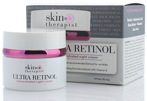 Skin Therapist 55+ Ultra Retinol Night Cream for Wrinkles, Dark Spots, Fine Lines, and Expression Lines. Anti-aging cream with Hyaluronic Acid. 1 FL Oz (30 mL)