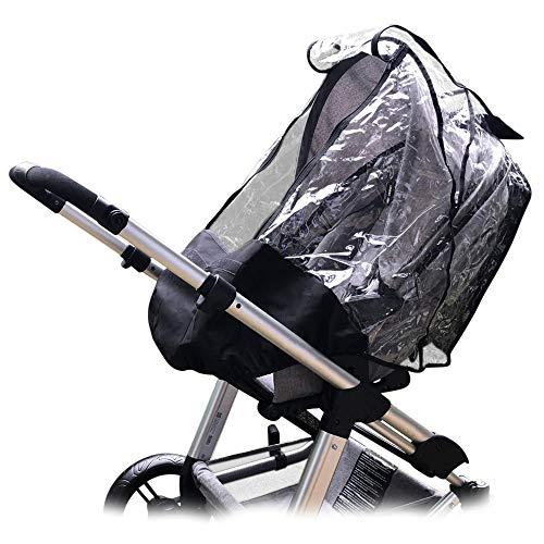 ecolly Universal Regenschutz für Sportwagen & Buggy mit großem Sichtfenster & Reissverschluss, stabiler Schutz gegen Regen & Wind, einfache Montage - schwarz