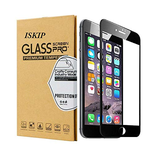 ISKIP [2 Pack] Screen Protectors for iPhone 7 8, Full Coverage 3D Tempered Glass Protective Film Edge to Edge Protection [Soft Edge Hybrid] for iPhone 7 8 Tempered Glass 4.7'' (Black)