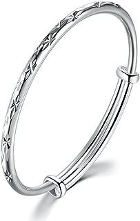 Bracelet 999 Fine Jewellery Sterling Silver Bangles Size Adjustable Lady Women Jewelry Box