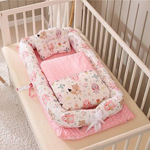 PONOA BC-13 ベッドインベッド(防水シーツ付き)枕 掛け布団付き 布団セット 添い寝ベッド ベビー布団 ベビーベッド ベッドガード (森の動物・ピンク)