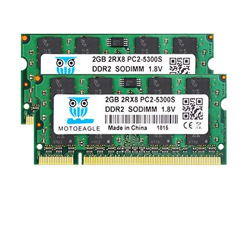 4GB Kit (2x2GB) PC2 5300s DDR2 667MHz 2RX8 Dual Rank PC2-5300 DDR2-667 1,8V 200-pin Sdram Sodimm Non-ECC Ungepuffertes SODIMM Laptop Arbeitsspeicher