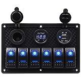 JVSISM Panel de Interruptor Basculante de Barco 6 Grupos con Fusible 4.2A Enchufe de Ranura USB Dual+Pantalla de Voltaje Digital + Encendedor de Cigarrillos Luz LED para Coche RV (Azul)