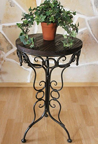 DanDiBo Tavolo Tavolinetto 68cm in Metallo con Ripiani in Legno HX12588 Porta Fiori