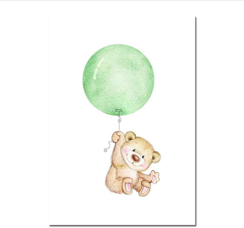 15,7x19,6 en sin marco Refosian Animal oso elefante globo cartel pared arte lienzo pintura n/órdica ni/ños habitaci/ón decoraci/ón cuadro de pared 40x50 cm