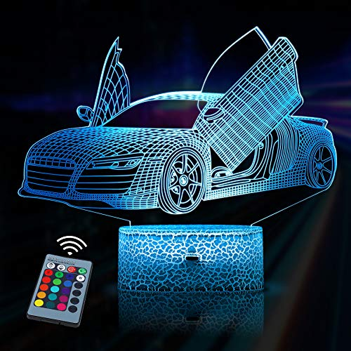 3D Lampe JQGO Illusion Lampe LED Nachtlicht, 3D Optische Täuschungs lampe, Dimmbare 3D Nachtlicht mit 16 Farben Ändern und Fernbedienung, Geburtstags und Weihnachtsgeschenke für Kinder(Sportwagen)