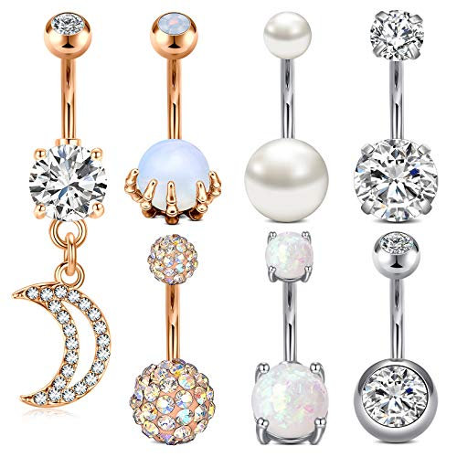 MODRSA Belly Button Rings Surgical Steel Belly Rings Opal Pearl Diamond Stainless Steel Navel Rings Silver Rose Gold Dangle Moon Navel Piercing Jewelry for Women
