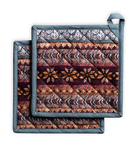 Maison d' Hermine Fair Isle 100% Baumwolle Set mit 2 Topflappen BBQ | Kochen | Backen | Mikrowelle | Grillen | Thanksgiving/Weihnachten (20 cm x 20 cm)