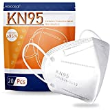Hotodeal KN95 Face Mask 20 PCS,5 Layers Cup Dust Mask Against PM2.5 from Fire Smoke, Dust, for Men, Women, Essential Workers(White)