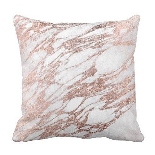 Chantelletion Chic Elegant White and Rose Gold Marble Pattern Throw Pillow Cushion Case Square 18'