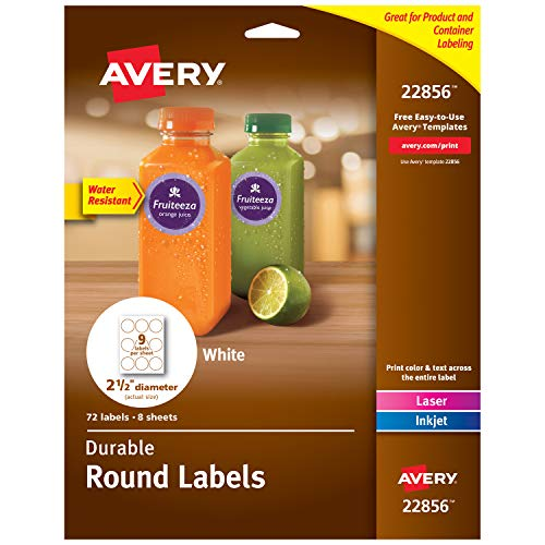 AVERY  Round Labels with Sure Feed for Laser & Inkjet Printers, 2.5', 72 Water Resistant White Labels (22856), 72 labels