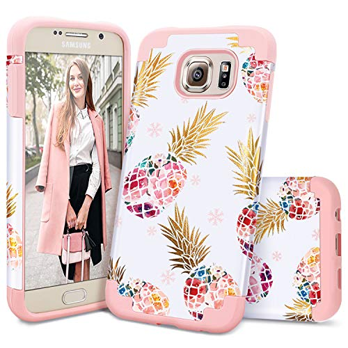 Samsung S6 Case,Galaxy S6 Case,Casewind Samsung Galaxy S6 Case Pineapple Glitter Rose Gold Hard PC Soft Silicone Slim Fit Hybrid Protective Shockproof Bumper Anti-Scratch Samsung S6 Case for Girls
