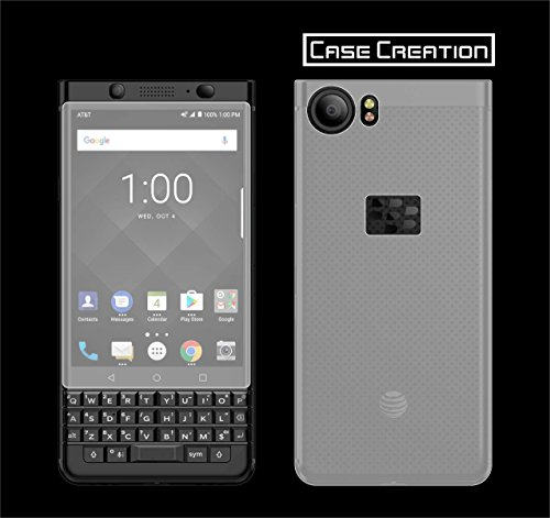 Case Creation Screen Protector [1 Set] HD Ultra Clear Film TPU Curved Edge to Edge for BlackBerry KEYone Front Back Guard (Clear)