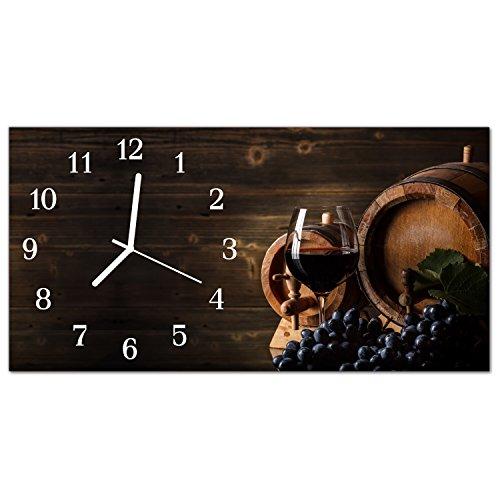 DekoGlas Glasuhr \'Wein Mehrfarbig\' Uhr aus Echtglas, eckig große Motiv Wanduhr 60x30 cm, lautlos für Wohnzimmer & Küche