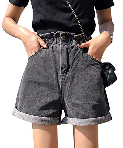 Plaid&Plain Women's High Waisted Denim Shorts Rolled Blue Jean Shorts