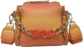 TOOGOO Women'S Bag Soft Leather Shoulder Bag Retro Messenger Bag Crossbody Bag Strap Boston Handbag Luxury Wide Chain Bag Bucket Casual Tote Blue