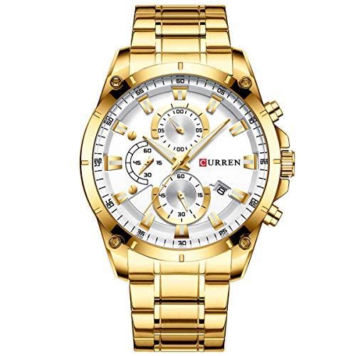 CURREN 8360 Luxury Business Classic Quarz Herrenuhr 3ATM Wasserdicht Leuchtende Armbanduhr Kalenderanzeige DREI Hilfszifferblätter Sekunden-Mikrosekunden-Chronograph Armbanduhr für Herren mit