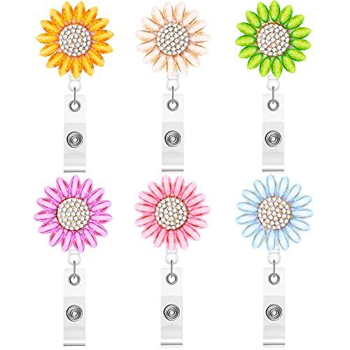 6 Pieces Sunflower Badge Reel Crystal Rhinestone ID Badge Reel Sunflower Nursing Name Badge Holder Flower Crystal Name Tag Holder Reel with Alligator Clip for Nurse Teacher Student Teacher, 6 Colors