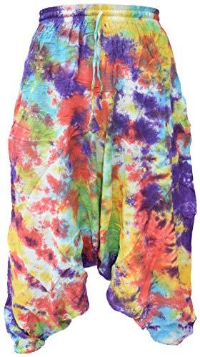 Pantalones estilo ninja, genio, Aladino, harén Little Kathmandu, pantalones de algodón ligero para hombres multicolor Marble Tie Dye M